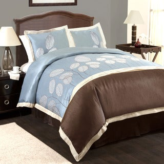 Lush Decor Lydia Blue/Brown 4-piece Comforter Set