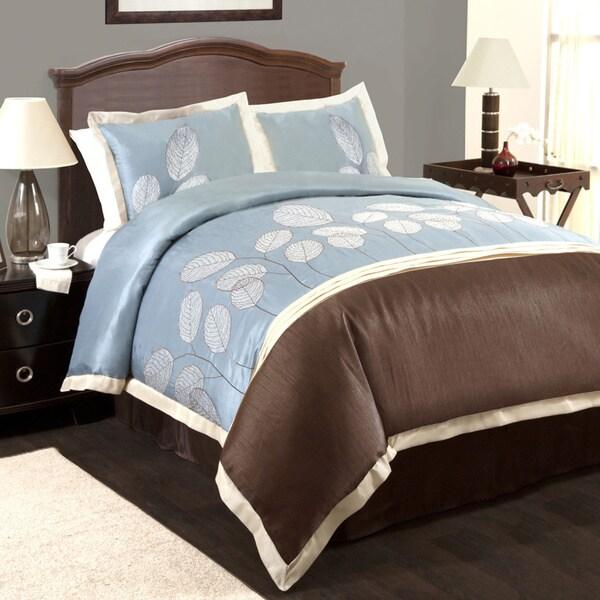 Lush Decor Lydia Blue/Brown 4-piece Comforter Set