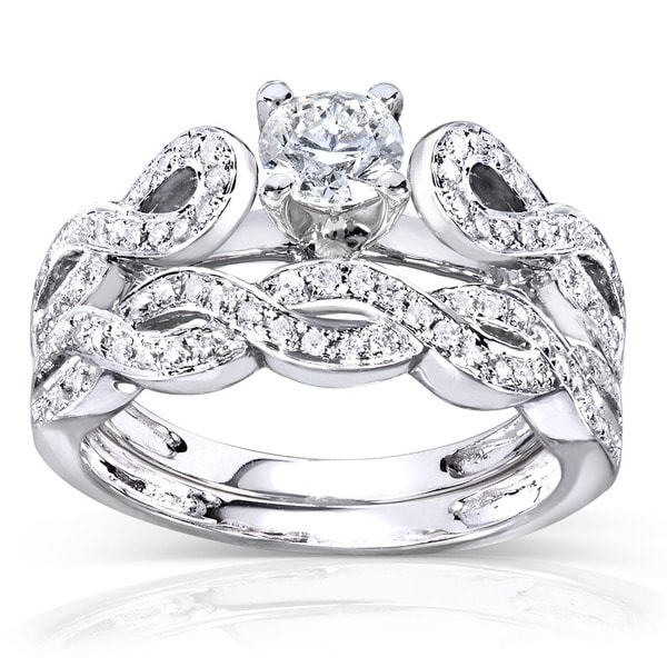 Annello 14k White Gold 1/2ct TDW Vintage Braided Diamond Bridal Set (H-I, I1-I2)
