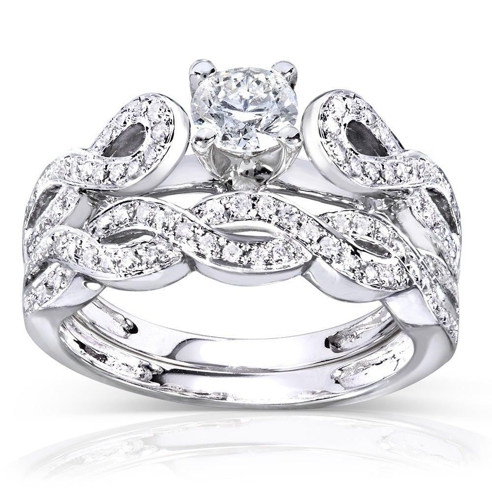 Annello 14k White Gold 1/2ct TDW Diamond Infinity Band Bridal Rings Set (H-I, I1-I2) at Sears.com