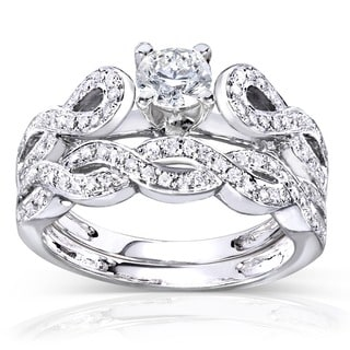 Annello 14k White Gold 1/2ct TDW Diamond Infinity Band Bridal Rings Set (H-I, I1-I2)