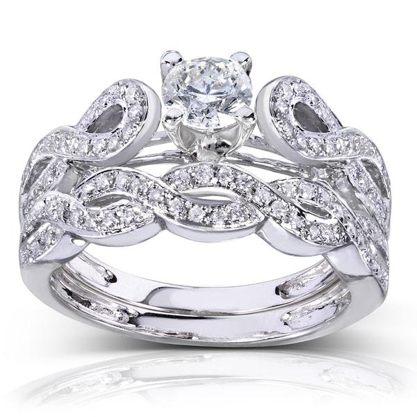 Annello 14k White Gold 1/2ct TDW Vintage Braided Diamond Bridal Set (H-I, I1-I2)