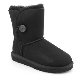 Ugg Australia Black Girl's 'Bailey Button' Regular Suede Boots