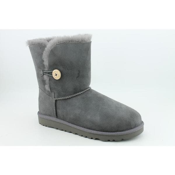 Ugg Australia Gray Girl's 'Bailey Button' Regular Suede Boots