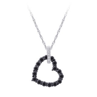 10k Gold 3/4ct TDW Black and White Diamond Heart Necklace (G-H, I2-I3)