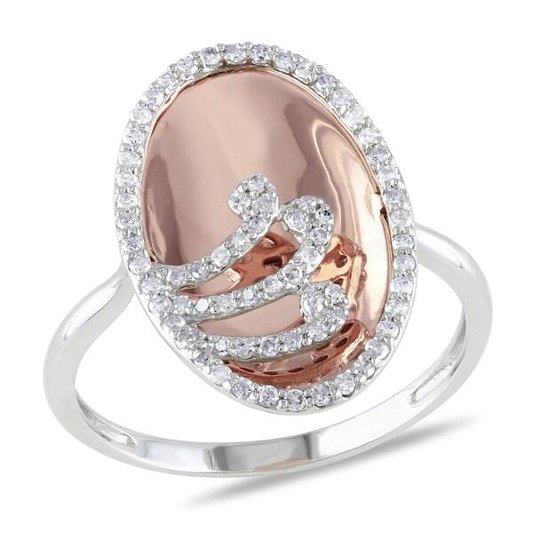 Miadora 10k Rose and White Gold 3/8ct TDW Swirl Diamond Fashion Ring