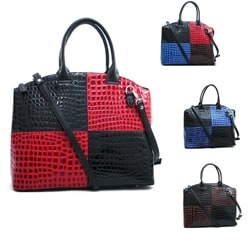 Dasein Large Colorblock Patent Croco Tote Bag