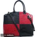 Dasein Large Colorblock Patent Croco Tote Bag