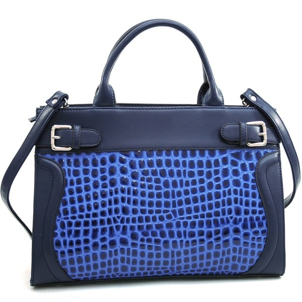 Dasein Belted Patent Croco Tote Bag