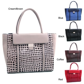 Dasein Large Patent Croco Chic Tote Bag
