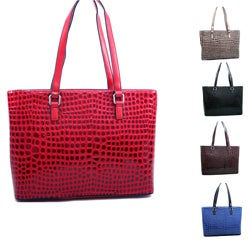 Dasein Large Patent Croco Tote Bag