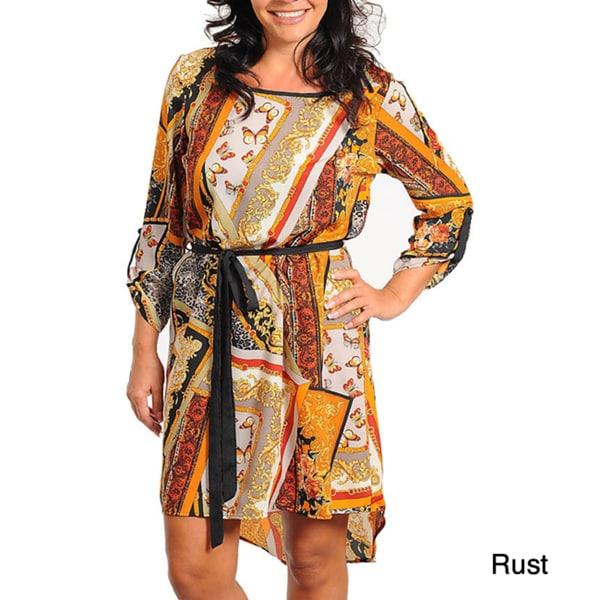 Stanzino Women's Plus Printed High-low Blouson Dress