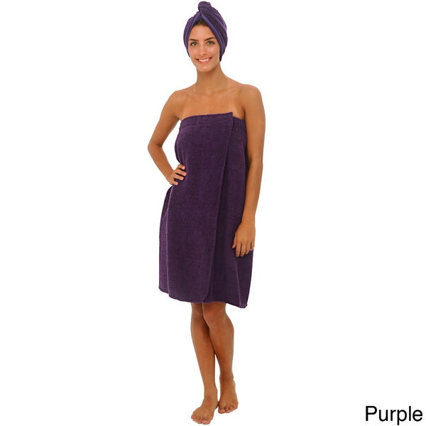 Alexander Del Rossa Women's Terry Towel Wrap with Head Wrap