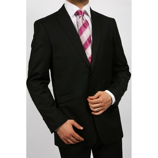 Ferrecci's Men's Black Peak Lapel Two-piece Suit