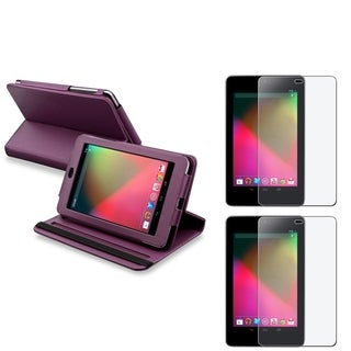 BasAcc Purple Swivel Case/ Anti-Glare Protector for Google Nexus 7