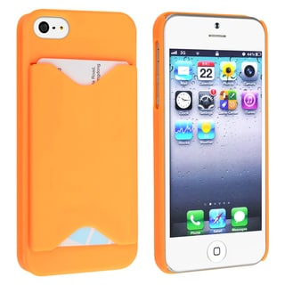 BasAcc Orange Snap-on Case with Card Holder for Apple Phone 5