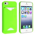 BasAcc Green Snap-on Case with Card Holder for Apple Phone 5/ 5S