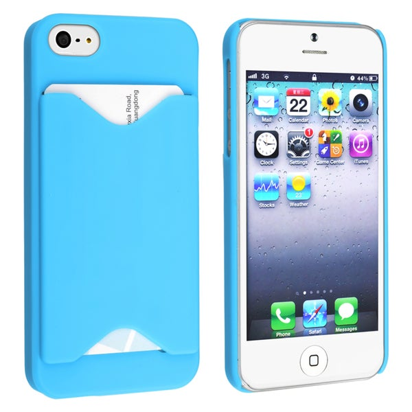 BasAcc Sky Blue Snap-on Case with Card Holder for Apple Phone 5