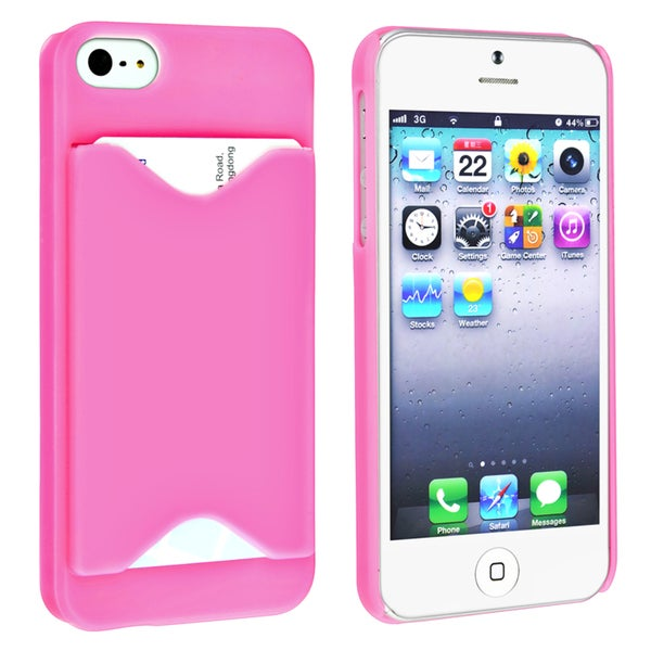 BasAcc Hot Pink Snap-on Case with Card Holder for Apple Phone 5