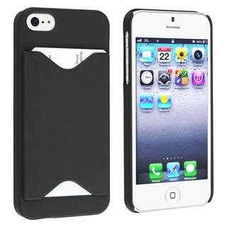 BasAcc Black Snap-on Case with Card Holder for Apple Phone 5/ 5S