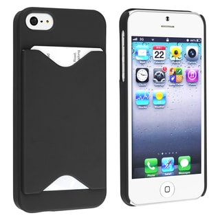 BasAcc Black Snap-on Case with Card Holder for Apple Phone 5