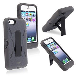 BasAcc Black/ Gray Hybrid Case with Stand for Apple iPhone 5