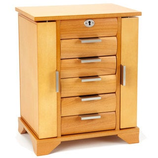 Contemporary Maple Wooden Jewelry Box with Lock and Key