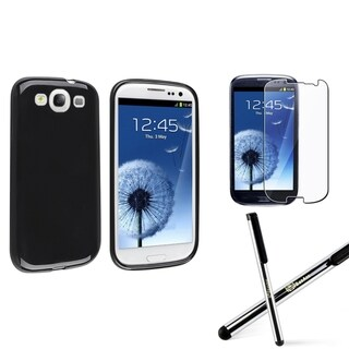 INSTEN Black TPU Phone Case Cover/ Protector/ Stylus for Samsung Galaxy S III/ S3