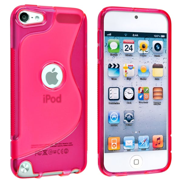 Insten Hot Pink S Shape TPU Rubber Candy Skin Glossy Case Cover For Apple iPod Touch 5th/ 6th Gen
