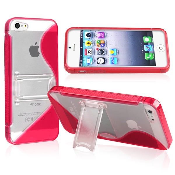 BasAcc Red TPU Rubber Skin Case with Stand for Apple® iPhone 5