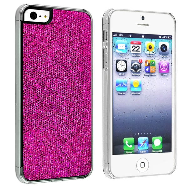 INSTEN Hot Pink Bling Snap-on Phone Case Cover for Apple iPhone 5/ 5S