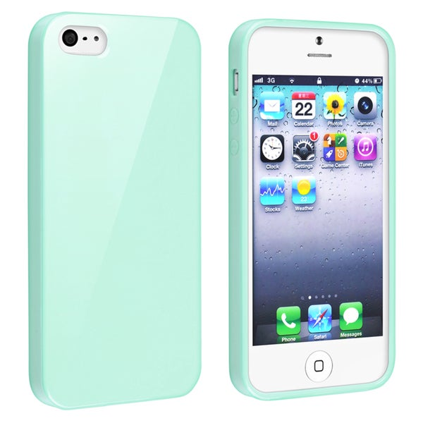 INSTEN Mint Green Jelly TPU Rubber Skin Phone Case Cover for Apple iPhone 5/ 5S