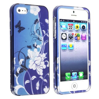 BasAcc Blue Flowers/ Butterfly Snap-on Case for Apple iPhone 5