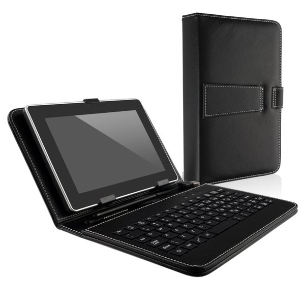 INSTEN Black Leather Phone Case Cover with Keyboard/ Stylus for 7-inch Tablet