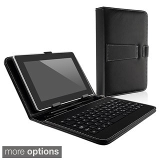 BasAcc Black Leather Case with Keyboard/ Stylus for 7-inch Tablet