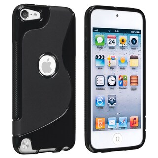 INSTEN Black S Shape TPU Rubber iPod Case Cover for Apple iPod Touch Generation 5