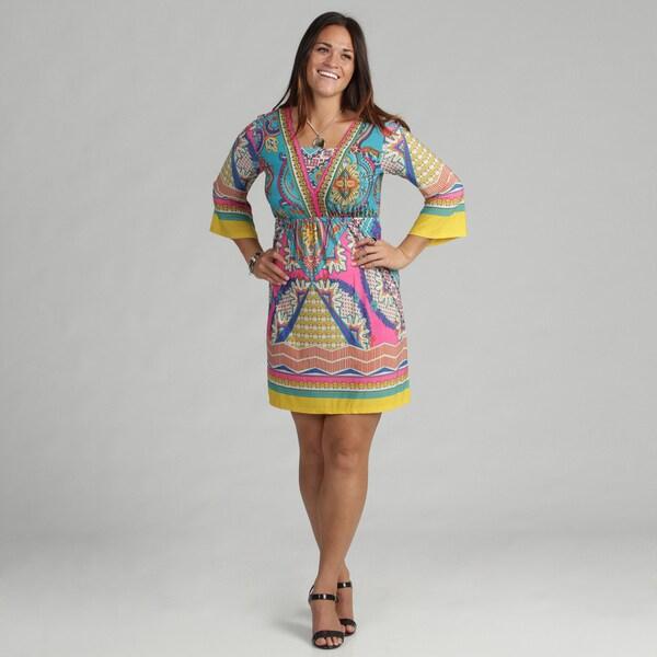 White Mark Women's 'Venezia' Pink Turquoise Dress