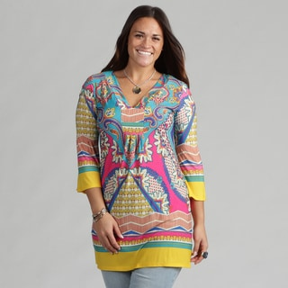 White Mark Women's Plus 'Florence' Pink Turquoise Tunic