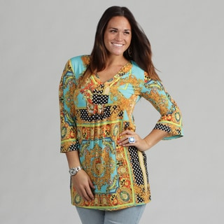 White Mark Women's Plus 'Florence' Gold Turquoise Tunic