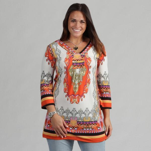 White Mark Women's Plus 'Florence' Ivory Orange Tunic