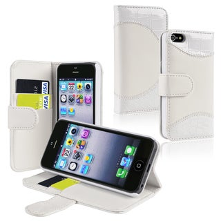 BasAcc White Leather Case with Stand/ Card Holder for Apple iPhone 5