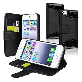 BasAcc Black Leather Case with Stand/ Card Holder for Apple iPhone 5/ 5S