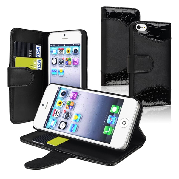 INSTEN Black Leather Phone Case Cover with Stand/ Card Holder for Apple iPhone 5/ 5S