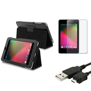 INSTEN Leather Phone Case Cover/ Cable/ Anti-glare Protector for Google Nexus 7