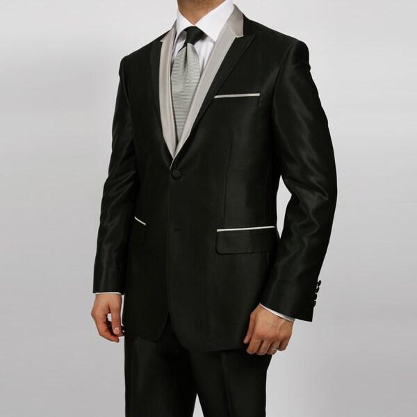 Ferrecci Men's Black Shiny Peaked Lapel Tuxedo