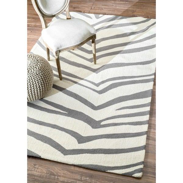 nuLOOM Handmade Zebra Grey Wool Rug