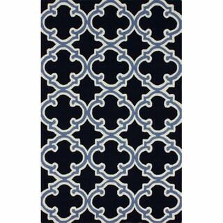 nuLOOM Handmade Marrakesh Trellis Navy Wool Rug