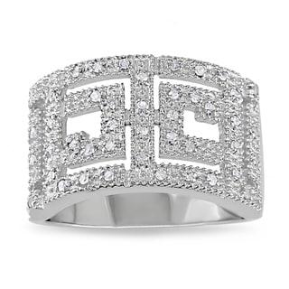 M by Miadora Sterling Silver 1/5ct TDW White Diamond Ring (H-I, I2-I3) with Bonus Earrings