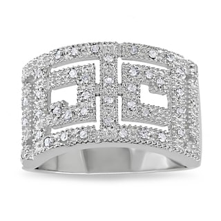Miadora Sterling Silver 1/5ct TDW White Diamond Ring (H-I, I2-I3)