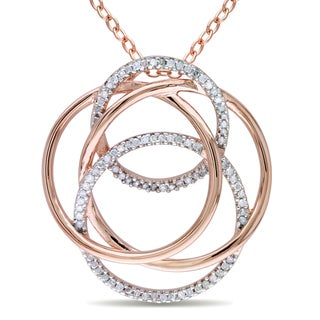 M by Miadora Rose-plated Silver 1/4ct TDW Diamond Necklace (H-I, I2-I3)
